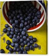 Bowl Pouring Out Blueberries Canvas Print