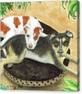 Boxer Hound Cross Dogs Plants Animals Cathy Peek Canvas Print