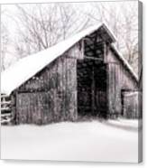 Boxley Snow Barn Canvas Print