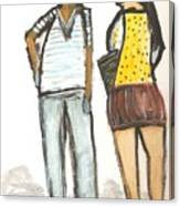 Boy And Girl After School Canvas Print