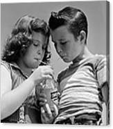 Boy And Girl Sharing A Soda, C.1950s Canvas Print