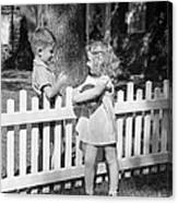 Boy And Girl Talking Over Fence, C.1940s Canvas Print