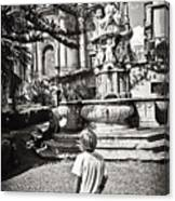 Boy At Statue In Sicily Canvas Print