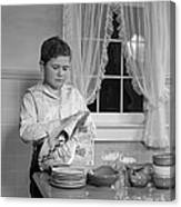 Boy Drying Dishes, C.1950s Canvas Print