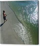 Boy Fishing On Captiva Canvas Print