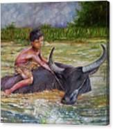 Boy In A Carabao Canvas Print