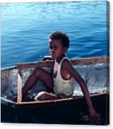 Boy In A Tin Boat On The Nile Canvas Print