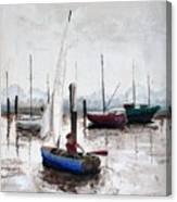 Boy In Blue Sailboat Canvas Print