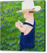 Boy In The Bluebonnets Canvas Print