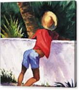 Boy Leaning On Wall Canvas Print