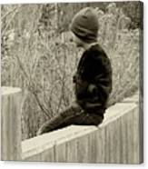 Boy On Fence - Sepia Canvas Print