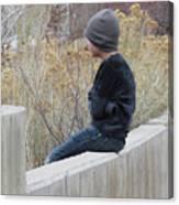 Boy On Fence Canvas Print