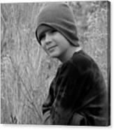 Boy On Fence Smiling - Bw Canvas Print