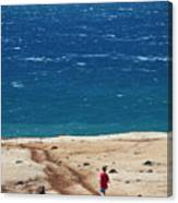 Boy Runs Toward Ocean Canvas Print