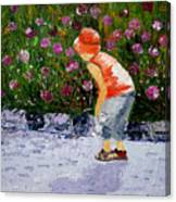 Boy Smeling Flowers Canvas Print