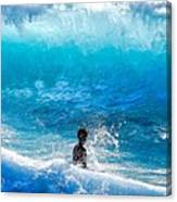 Boy And Wave   Kekaha Beach Canvas Print