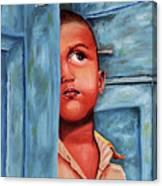 Boy Waiting At Door Canvas Print