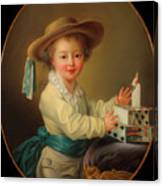 Boy With A House Of Cards                                   Canvas Print