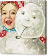 Boy With A Snowman Canvas Print