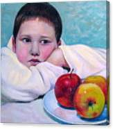 Boy With Apples Canvas Print