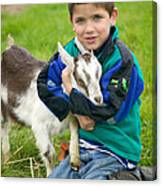 Boy With Goat Canvas Print