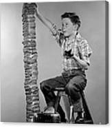 Boy With Huge Stack Of Toast, C.1950s Canvas Print