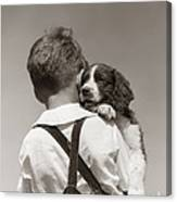 Boy With Puppy, C.1930-40s Canvas Print