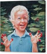 Boy With Raspberries Canvas Print