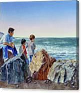 Boys And The Ocean Canvas Print