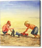 Boys And Trucks On The Beach Canvas Print