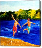Boys By The River Canvas Print