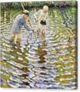 Boys Fishing For Minnows Canvas Print
