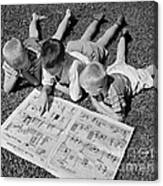 Boys Reading Newspaper Comics, C.1950s Canvas Print