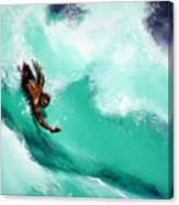 Brad Miller In Makaha Shorebreak Canvas Print