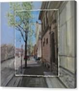Brady Street With Tree Layered Canvas Print