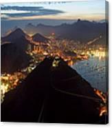 Brasil,rio De Janeiro,pao De Acucar,viewpoint,panoramic View,copacabana At Night Canvas Print