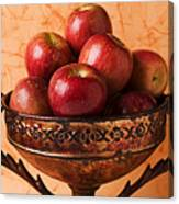 Brass Bowl With Fuji Apples Canvas Print