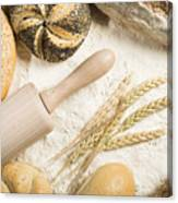 Breads. Pile Of Flour, Rolling Pin And Wheat Canvas Print