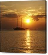Breathtaking Sailboat Ocean Sunset #0182 Canvas Print