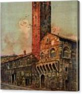 Brescia, Italy - Birds Flying Around Tower - Retro Travel Poster - Vintage Poster Canvas Print