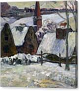 Breton Village Under Snow Canvas Print