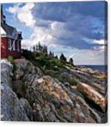 Brick Bell House At Pemaquid Point Light Canvas Print