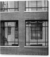 Brick Building Black And White Canvas Print
