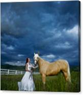 Bride And Horse With Storm Canvas Print