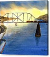 Bridge And Barge Canvas Print