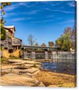 Bridge And Creek In The Fall Canvas Print