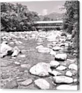 Bridge And Mountain Stream In Black And White Canvas Print