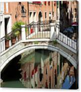 Bridge And Reflection Venice, Italy Canvas Print