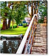 Bridge And River In Old Dutch Village Canvas Print