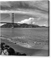 Bridge And Sea Black And White Canvas Print